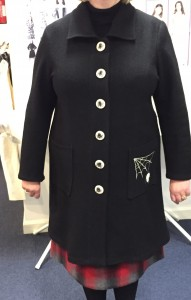 Boiled wool jacket with spiders web pocket